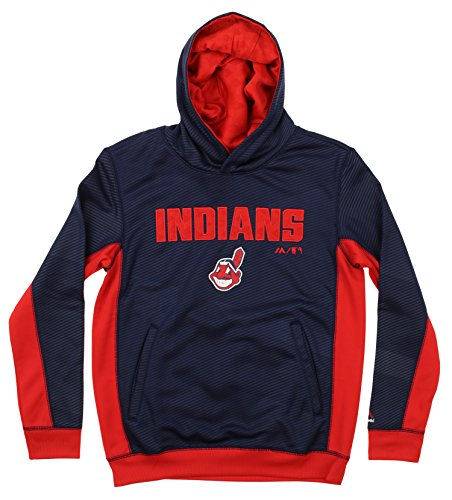 Outerstuff MLB Youth's Geo Strike Hoodie, Cleveland Indians Medium (10-12)
