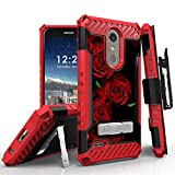 LG K30 Case (X410), LG Phoenix Plus, LG Premier Pro LTE, LG K10 2018 Phone Case, 12 Ft Military Grade Drop Tested Belt Clip Kick Stand Hybrid Shockproof Armor Cover (Red Rose)