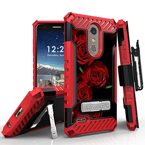 LG K30 Case (X410), LG Phoenix Plus, LG Premier Pro LTE, LG K10 2018 Phone Case, 12 Ft Military Grade Drop Tested Belt Clip Kick Stand Hybrid Shockproof Armor Cover (Red Rose) by 6goodeals