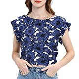NCCIYAZ Womens Crop Top Flower Print Ruffle Short Sleeve Backless Lace-up Shirt Sexy Ladies Party Club(M(6),Blue)