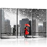 Kolo Wall Art Abstract Black and White Wall Art Couples with Red Umbrella Under Milky Way in New York City Landscape Painting Print on Canvas Framed for Living Room Ready to Hang