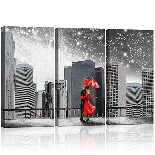 KLVOS - Abstract 3 Piece Wall Art Black and White Couples with Red Umbrella Under New York Starry Night Cityscape Art Wall Decor Prints On Canvas Framed For Living Room - Cityscape Red