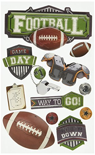 - Paper House Productions STDM-0243E 3D Cardstock Stickers, Football II (3-Pack)