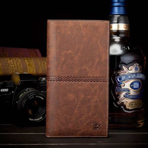 NEW Men's Leather Bifold ID Card Holder Long Wallet Purse Checkbook Clutch Billfold ,wa - Optics Soho