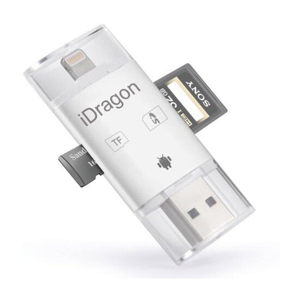 Lector de tarjetas de memoria, lector de tarjetas TF Lector de tarjetas USB SDHC OTG Adaptador de tarjetas Lector de tarjetas Support IOS 12 for iphone Xs/Xs Max XR/XR Max /X/8/8 Plus 7/7 Plus 6S/6S Plus 6/6 Plus Galaxy S6 S7 holight GBAIPAN04REA