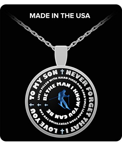 Snow Skiing Necklace For Boys - Silver Skier Pendant – To My Son - Personal Gift From Mom & Dad - Inspirational Sports Charm - Blue Design (Skiing Costume Ideas)