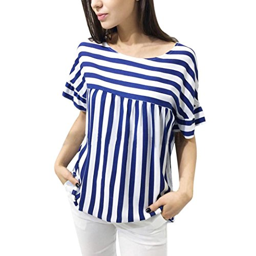 Realdo Women's Striped T-Shirt, Summer Casual Striped Loose Tops Blouse(Blue,Large) -