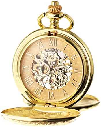 TREEWETO Men's Mechanical Roman Numerals Dial Skeleton Pocket Watches with Gift Box and Chains for Mens Women Gold