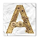 Search : Letter A Bandana by Ambesonne, Steampunk Mechanical Alphabet Letter Font A Photo Compilation Cogwheel Clench, Printed Unisex Bandana Head and Neck Tie Scarf Headband, 22 X 22 Inches, Sand Brown