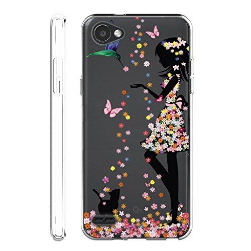 Funda para LG Q6 (No se aplica a LG G6) , IJIA Transparente Atrapasueños Negro TPU Silicona Suave Cover Tapa Caso Parachoques Carcasa Cubierta para LG Q6 WM49