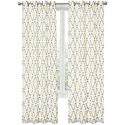 GoodGram 2 Pack: Kendall Luxurious Trellis Crushed Grommet Sheer Voile Curtains by Assorted Colors (Yellow/Charcoal)