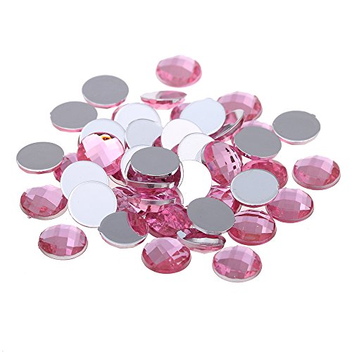 Nizi Jewelry Light Pink Color Round Shape Acrylic Rhinestones Flatback Earth Faceted Strass Gems 3D Nail Art Decorations Craft Art Accessories 6MM 100PCS