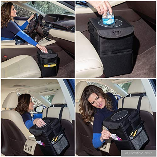 Car Trash Can - The Luxury Edition. No-Smell, Premium Leak Proof Construction & Watertight Liner Won't Cave, Spill, Tip or Contaminate Vehicle Guaranteed | Cleaning Cloth & 30 Disposable Liners by MB Innovations Group (Image #2)