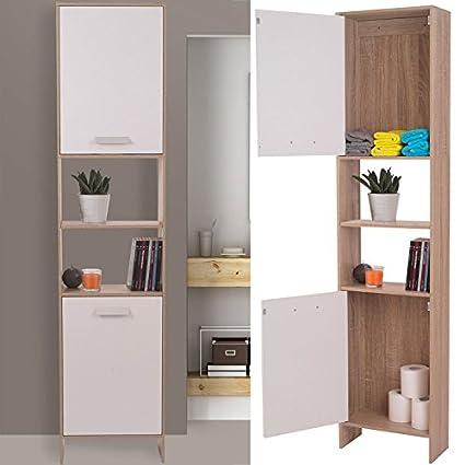 idmarket – – Mueble para cuarto de baño en madera Design haya puertas blancas