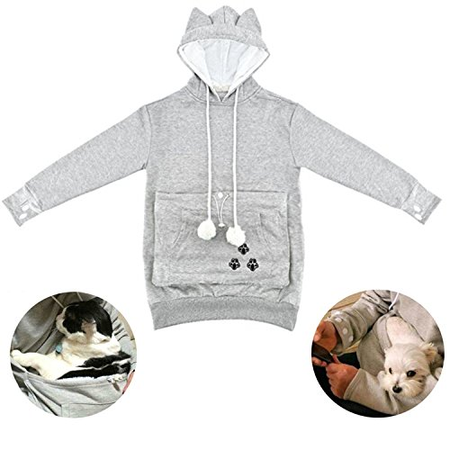 Price comparison product image Japanese Style Pullover Big Kangaroo Pouch for Small Cat Dog Pet Hoodie Sweater (M, Grey)