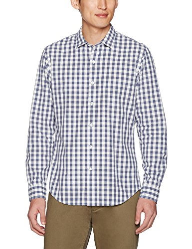 Goodthreads Men's Slim-Fit Long-Sleeve Large-Scale Gingham Shirt, Navy/White, X-Large
