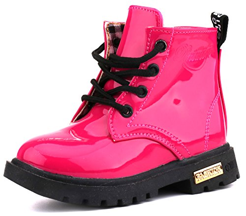 LONSOEN Boys Girls Waterproof Lace/Zip Up Kids Boots,