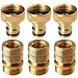 GORILLA EASY CONNECT Garden Hose Quick Connect Fittings. ¾ Inch GHT Solid Brass. 3 Sets of Male & Female Connectors.
