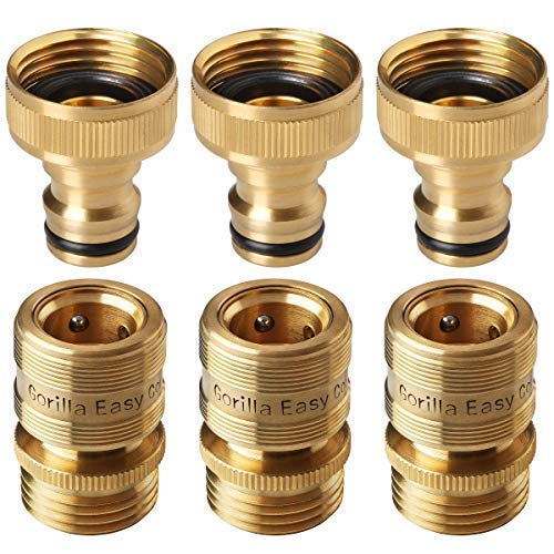(GORILLA EASY CONNECT Garden Hose Quick Connect Fittings. ¾ Inch GHT Solid Brass. 3 Sets of Male & Female Connectors.)
