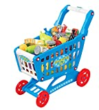 19'' Mini Shopping Cart with Full Grocery Food Toy Playset for Kids