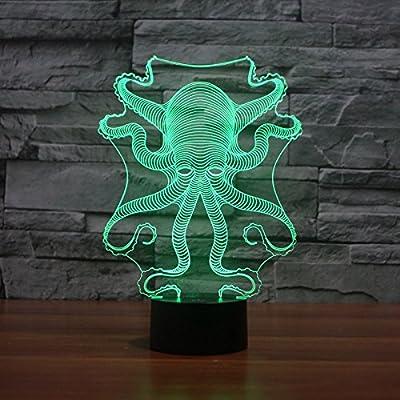 SUPERNIUDB Octopus Shape 3D LED Nightlight 7 Color Control Desk Table Lamp Bedroom Xmas Gift