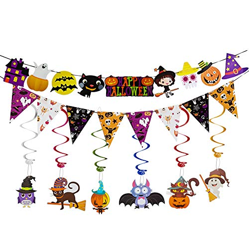 Halloween Garland Banner Kit Swirl Ceiling Hanging Decoration Halloween Bunting Cute Decorations for Kids Classroom Indoor Decor -