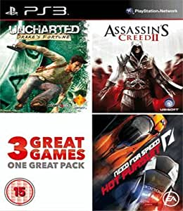 Uncharted - Drakes Fortune, Assassins Creed 2 - Game of Year Edition & Need For Speed - Hot Pursuit (3 Great Games in One Pack) [Importación inglesa] [PlayStation 3]: Amazon.es: Videojuegos