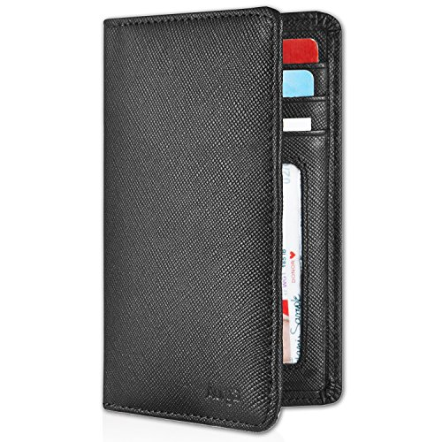 Leather Saffiano Bi Fold Wallet (Aurya Men's Slim Bifold Wallet ID/Credit Card Holder,Full-grain genuine leather,RFID Blocking and Front pocket wallet)
