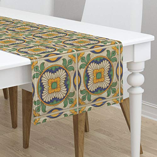 Table Runner - Spanish Tiles Golden Flowers Green Leaves Architectural Vintage Inspired Mexican by Jewelraider - Cotton Sateen Table Runner 16 x - Architectural Leaf