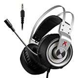 Xbox one Gaming Headset,Xiberia K1 3.5mm Surround Stereo Sound Gaming Headphones,Noise Cancelling Mic,Lightweight Over Ear Soft Memory Earmuff for Xbox 1 S/PS4/PC Laptop/Mac (Grey)