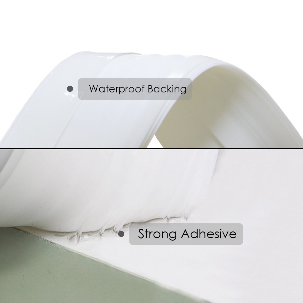 Bottom Door Blocker Under Strip Seal Sweep Weather Stripping Draft Stopper Self-Adhesive Tape Bugs Guard Energy Saver Soundproof Noise Cold Air Gap Insulator 2'' x 39'' (White) by Gadgets of George by Gadgets of George (Image #1)