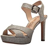 Sam Edelman Women's Jordan Heeled Sandal, Jute Glitz Fabric, 8.5 Medium US