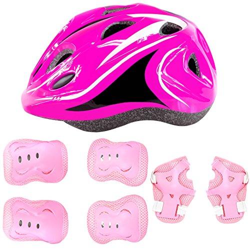 Kids Protective Gear Set LED Helmet Knee Pads Elbow Pads Wri