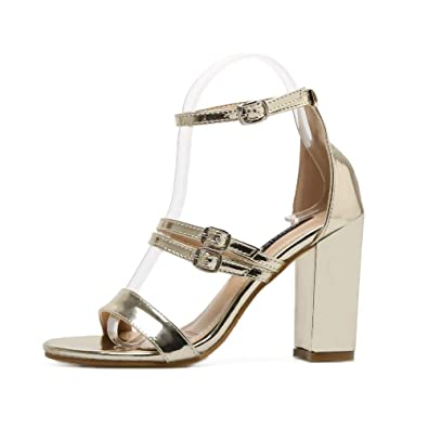 135de250e0 Amazon.com | ZHEYUG Women Open Toe Strappy Ankle Strap Gold Sandals Block  Thick High Heel Shoes Summer Sandals Silver Size 40 | Heeled Sandals