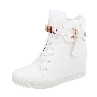 Ital-Design Sneakers High Damen-Schuhe Sneakers High Keilabsatz Wedge  Keilabsatz Reißverschluss Freizeitschuhe 44f6c7c2a1