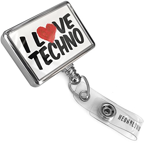 Retractable ID Badge Reel I Love Techno with Bulldog Belt Clip On Holder - Techno Belt