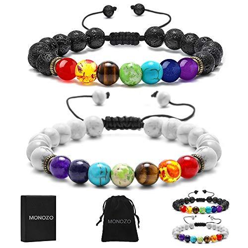 MONOZO Lava Rock Chakra Bracelets - 8mm Natural Lava Rock Stones Beads Bracelets, Men Stress Relief Turquoise Beads Aromatherapy Essential Oil Diffuser Bracelets Chakras Anxiety Bracelet for Women