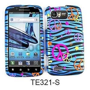 For Motorola Atrix 2 MB865 Case Cover - Peace Signs Blue Zebra Stars Rubberized Pink Yellow Orange Purple TE321-S
