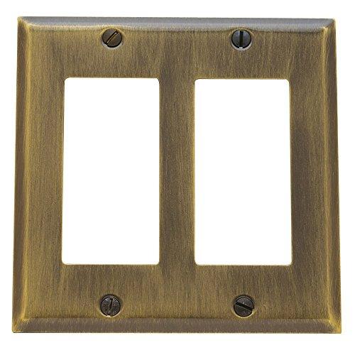 Baldwin Estate 4741.050.CD Square Beveled Edge Double GFCI Wall Plate in Satin Brass, 4.5
