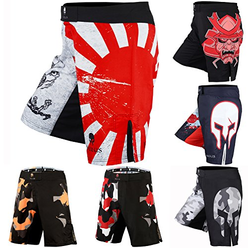 Men's Mixed Martial Art Shorts by VERUS (Red/White, Medium)