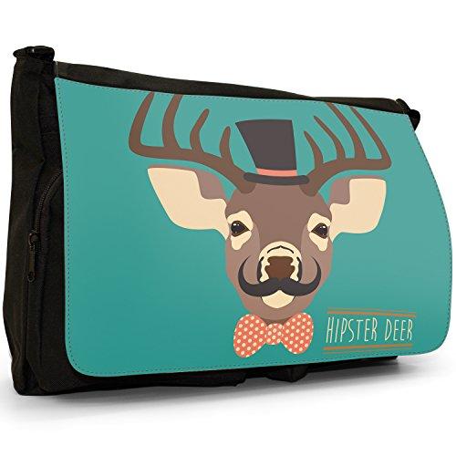 Bag Hipster Canvas Shoulder Deer Trendy Bohemian Animals School Messenger Laptop Large Black AHqARw