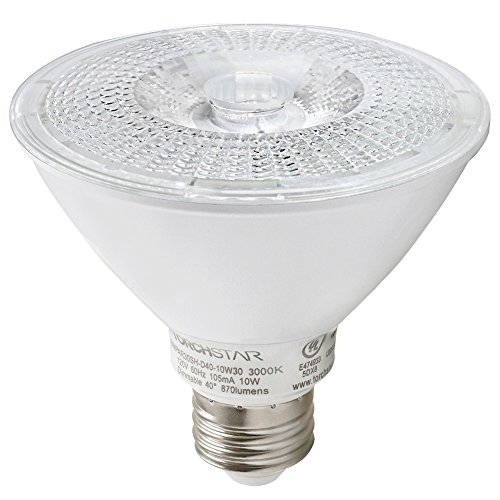 1-PACK 10W Dimmable 90+CRI PAR30 LED Light Bulb, 75W Halogen Equivalent, UL-Listed LED Spotlight, 3000K Warm White , 850lm, Wet Location Available for General/Track/Recessed/Retail/Accent (White Par30 Track Light)