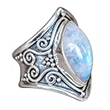 #2: Napoo Clearance 1PC Boho Jewelry Silver Natural Gemstone Marquise Moonstone Personalized Ring