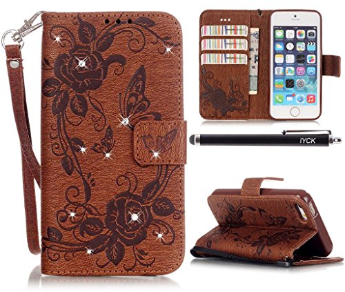 iPhone SE Wallet Case, iPhone 5 Case, iYCK Premium PU Leather [Emboss Flower] Shiny Diamond Crystal Protective Shell Flip Wallet Case Cover for iPhone 5/5S/SE with Stand and Wrist Strap - Brown