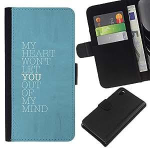 All Phone Most Case / Oferta Especial Cáscara Funda de cuero Monedero Cubierta de proteccion Caso / Wallet Case for Sony Xperia Z3 D6603 // azul mente corazón te amo cartel de bebé
