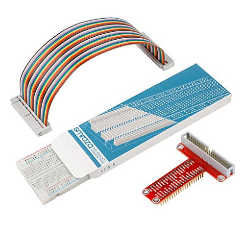 Smraza T Type GPIO Breakout board for Raspberry Pi 3 2 Mode B/B+ with 830 tie-points Breadboard and 40 Pin Rainbow Cable (Pi Board)