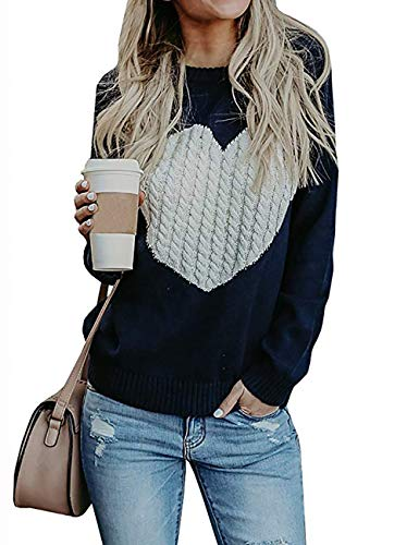 shermie Womens Pullover Sweaters Long Sleeve Crewneck Cute Heart Knitted Sweaters,Navy,Medium