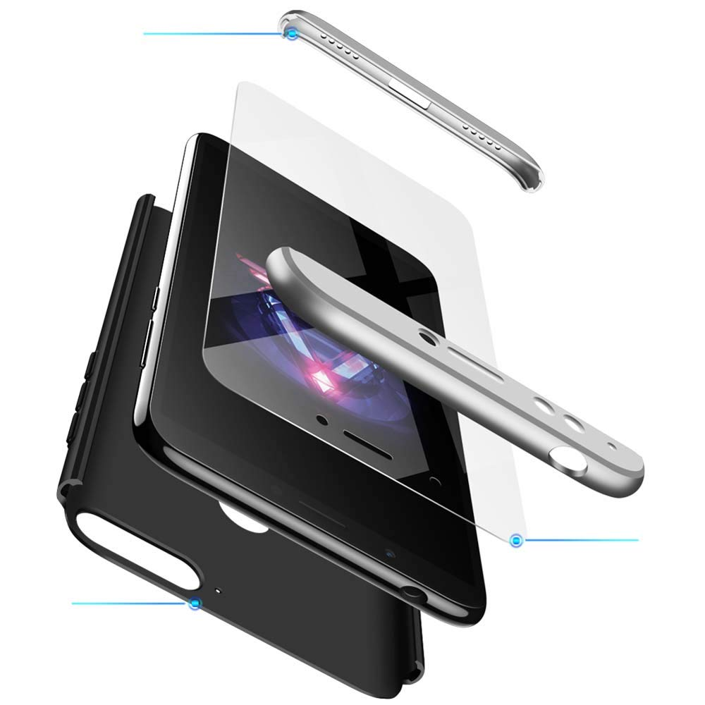 cmdkd Huawei Honor 7Aケース、1スリムPCカバーに耐える360度保護3耐衝撃シェル全身カバーハード保護ケース+ Huawei Honor 7Aシルバーブラック用強化ガラススクリーンプロテクター   B07JDNTSGD