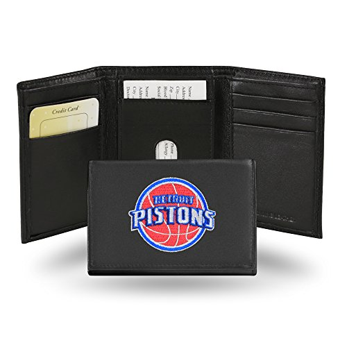 NBA Detroit Pistons Embroidered Leather Trifold Wallet - Nba Detroit Pistons Leather