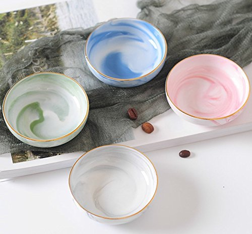 Astra Gourmet Set of 4 Ceramic Marble Pattern Soy Sauce Dipping Bowls/Appetizer Plates/Serving Dishes/Condiment Dish, 3.1-Inch(Assorted Color)